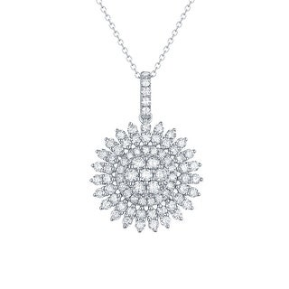 Prism Jewel G-H/I1 1.54Ct Natural Diamond Sunflower Pendant with Chain - White