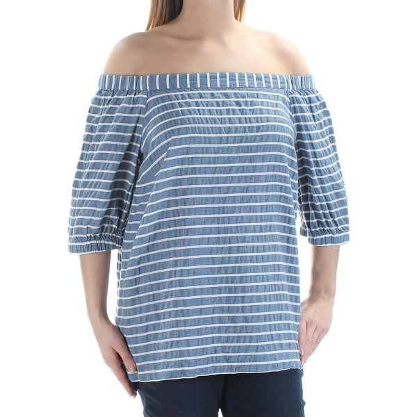 f0e8fe2cdcdbf Shop RALPH LAUREN Womens Blue Striped 3 4 Sleeve Off Shoulder Top Size  L -  Free Shipping On Orders Over  45 - Overstock - 27795036