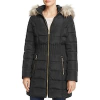 Laundry by Shelli Segal Black Cinch Waist Down Puffer Hooded Coat