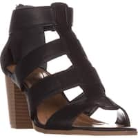SC35 Janinaa Gladiator Rear Zip Sandals, Black
