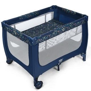 Gymax Portable Baby Playard Playpen Nursery Center w/ Mattress - See Details