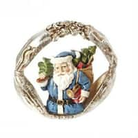 "3"" Christmas Traditions Blue Santa Claus Portrait Christmas Ornament"