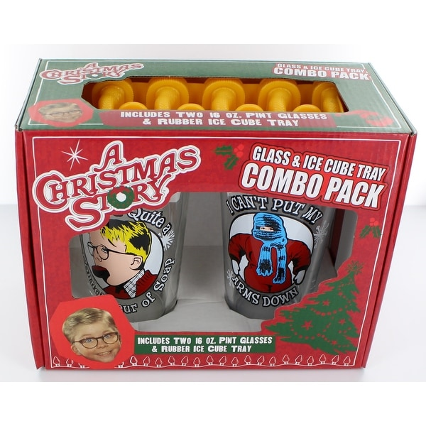 A Christmas Story Movie Quotes Glass and Ice Cube Tray Combo Pack - Multi