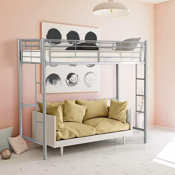 Shop Gymax Twin Loft Bed Metal Bunk Ladder Beds Boys Girls Teens Kids On Sale Overstock 23114374