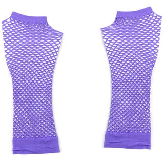 Pair Lavender Stretchy Mesh Fishnet Elbow Fingerless Goth Arm Warmers for Lady (Option: Purple)