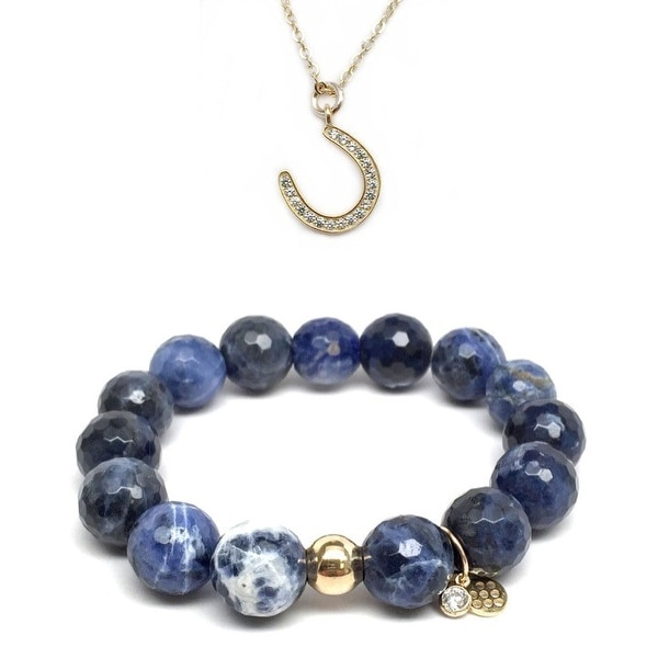 Blue Sodalite Bracelet & CZ Horseshoe Gold Charm Necklace Set