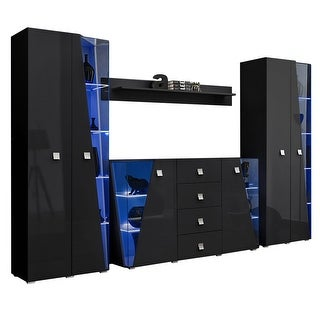 Link to Edge Set SB-BK-BK-SH Modern Wall Unit Entertainment Center Similar Items in Entertainment Units