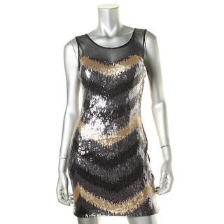 As U Wish Womens Juniors Party Dress Sequined Illusion
