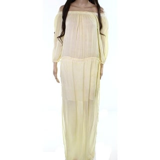 YBF NEW Yellow Womens Size Small S Off-Shoulder Shirred Maxi Dress