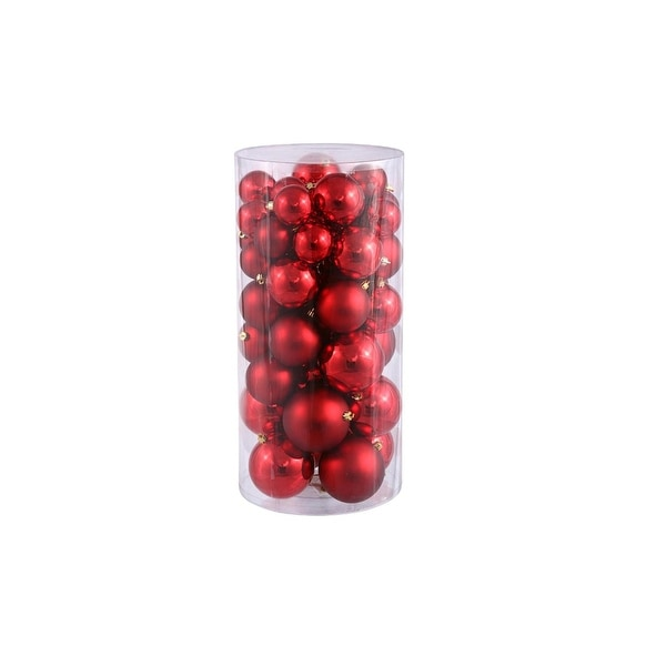 "50ct Red Hot Shiny & Matte Shatterproof Christmas Ball Ornaments 1.5""-2"""