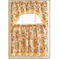 Megan Embroidered 3-Piece Kitchen Curtain Swag & Tiers Set, Peach, 60x36 & 30x36 Inches