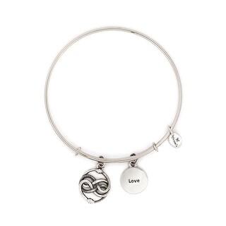 Cherished Love Adjustable Charm Bangle Bracelet For Women, Silver Rhodium Plated
