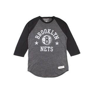 Mitchell & Ness Men's Brooklyn Nets Media Guide Raglan - Black