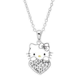 Girl's Hello Kitty April Heart Pendant with Crystals in Sterling Silver-Plated Brass