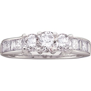 1 1/2Ctw Diamond 3 Stone Bridal Engagement Ring 14K White-Gold
