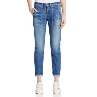 Rag & Bone Womens Delancy Carpenter Jeans Mid Rise Faded