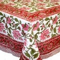 Handmade Lotus Flower Block Print 100% Cotton Tablecloth Red 60x60 Square 60x90 REctangle 72 Inch Round - 60 x 90 inches - Thumbnail 9