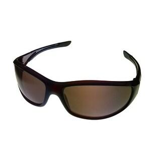 Timberland Mens Sunglass Dark Brown, Brown Lens Plastic Sport Wrap TB7093 50E - Medium
