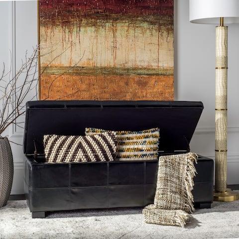 "SAFAVIEH Madison Black Bicast Leather Storage Bench - 46.9"" x 18.3"" x 16.7"""