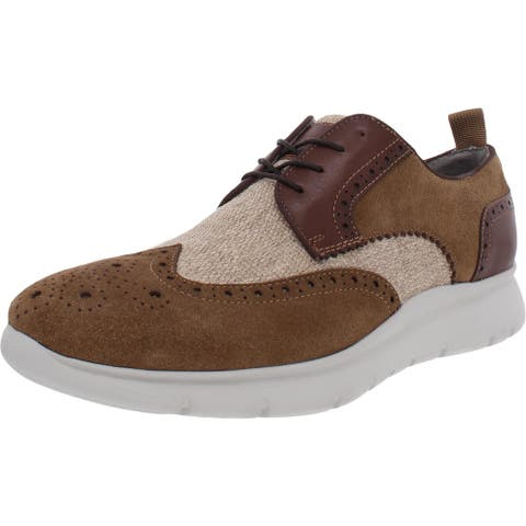 Kenneth Cole New York Mens Trent Oxfords Suede Lace-Up - Tobacco Combo - 9 Medium (D)
