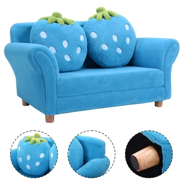 Shop Costway Kids Sofa Strawberry Armrest Chair Lounge