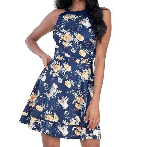 Speechless Dress Blue Size Medium M Junior A-Line Halter Floral Print