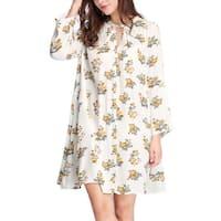 Women Keyhole Front Floral Prints Loose Swing Dress - White
