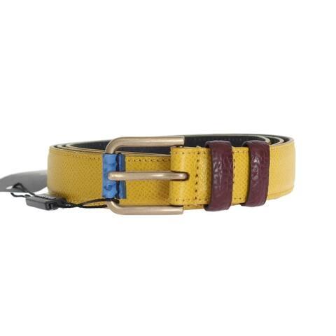 Dolce & Gabbana Yellow Leather Gold Buckle Men's Belt