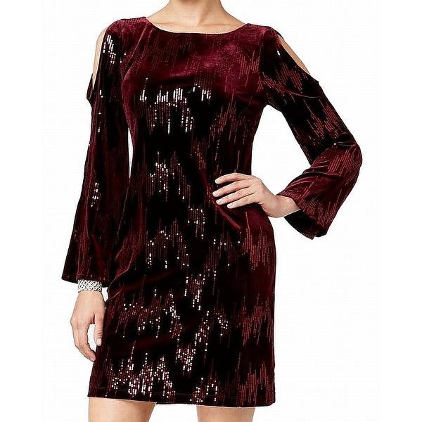 Jessica Howard Red Wine Womens Size 6 Velvet Sequined Sheath Dress