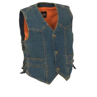Kids Basic Denim Side Lace Four Snap Vest