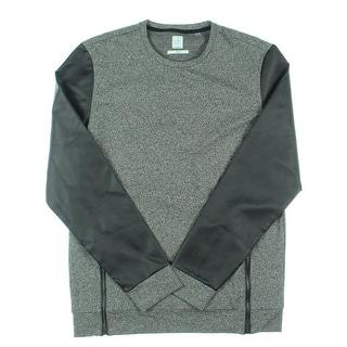Calvin Klein Mens Slim Fit Faux-Leather Sleeves Sweatshirt - M