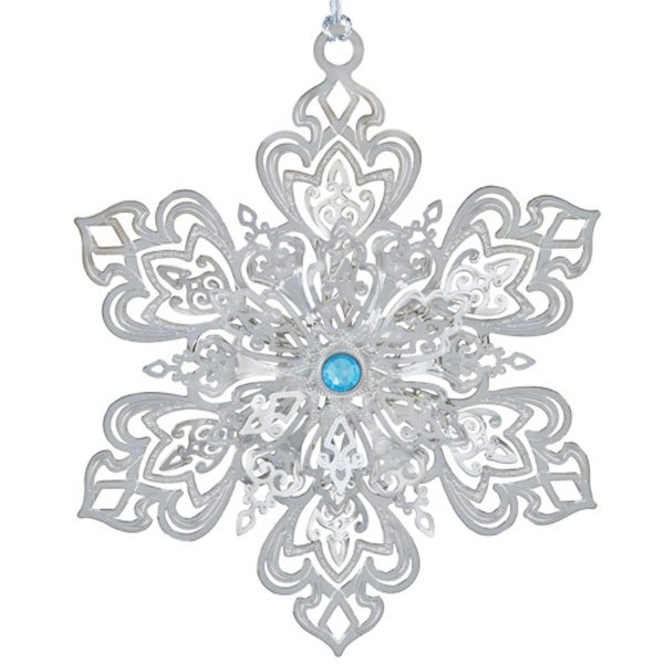 "3.25"" Silver Ornate Jeweled Christmas Snowflake Ornament"