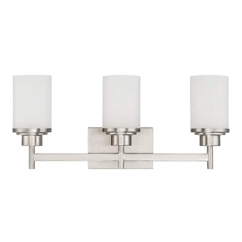 Sunset Lighting Somes Three Light Vanity - Linen Glass, Dimmable - With Bright Satin Nickel Finish