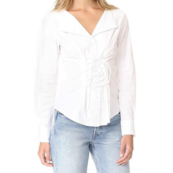 1208a64c04cb73 Shop WAYF NEW White Womens Size Small S Lace Up Long Sleeve Button Down  Shirt - Free Shipping On Orders Over $45 - Overstock - 21429279