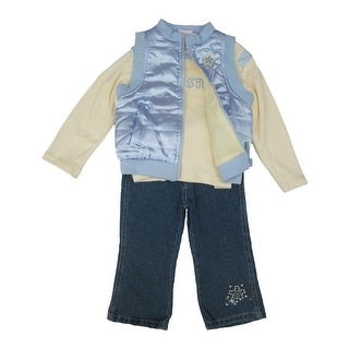 Kids Zone Little Girls Yellow Blue Shirt Vest Denim Pants 3 Pc Outfit 2-4T