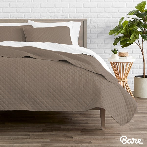 Bare Home Diamond Stitched Lightweight Microfiber Coverlet Set. Opens flyout.