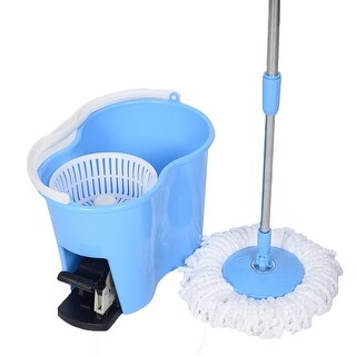 Costway Microfiber Spinning Mop Easy Floor Mop W/Bucket 2 Heads 360 Rotating Head Blue