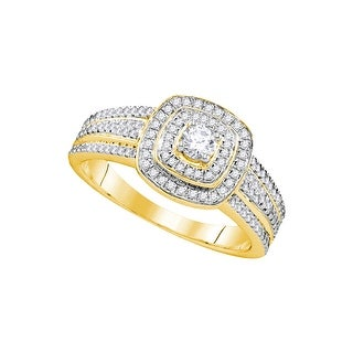 1/2Ctw Diamond 1/6Ctw Center Round Bridal Engagement Ring 10K Yellow-Gold