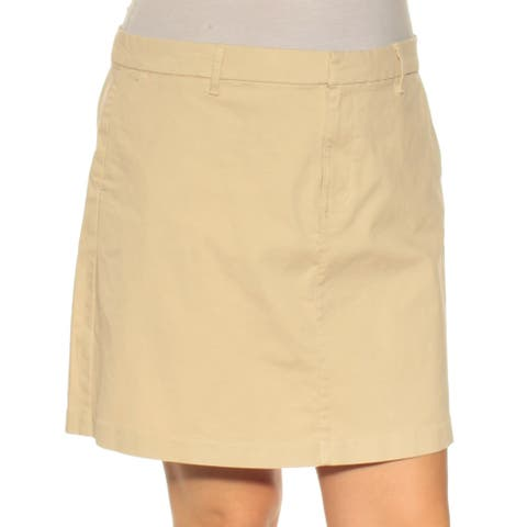 TOMMY HILFIGER Womens Beige Mini Shift Skirt Size 14