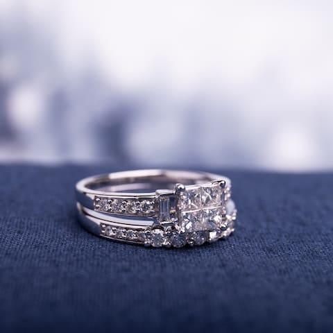 Miadora 14k White Gold IGL Certified 1ct TDW Diamond Quad Bridal Ring Set