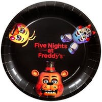 "Five Nights At Freddy's 9"" Round Paper Plates 8ct - Multi"