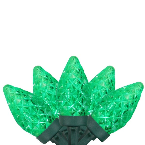 """Set of 50 Green Faceted LED C7 Christmas Lights 5"""" Spacing - Green Wire"""