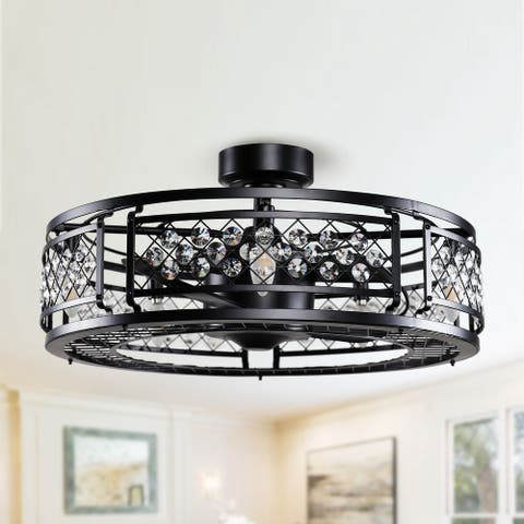 """27"""" Matte Black 3-Blade Crystal Ceiling Fan with Remote"""