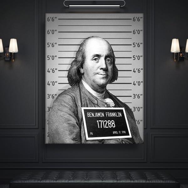IKONICK Mug Shot Money ( Benjamin Franklin ) Canvas Art