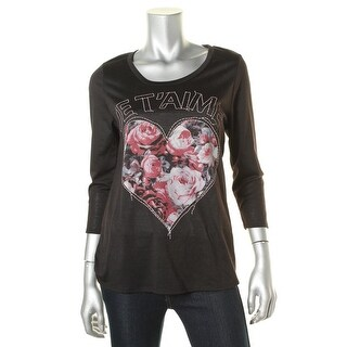 Rebellious One Womens Juniors Pullover Top Cut-Out Back Embroidered