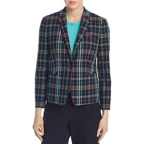 BOSS Hugo Boss Womens Jilesa One-Button Blazer Plaid Office Wear