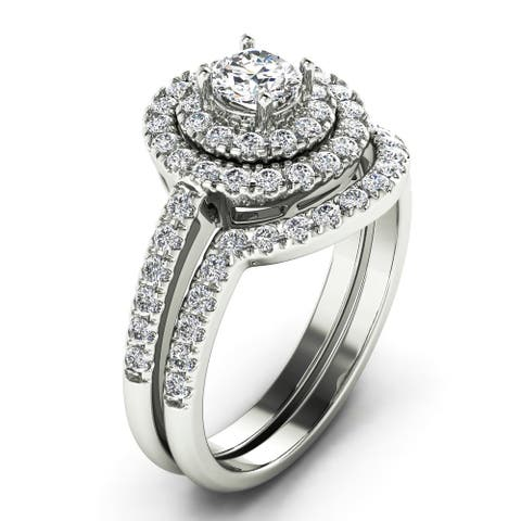 1.00 CT Halo Round Cut Diamond Bridal Set with Curved Band in 14KT