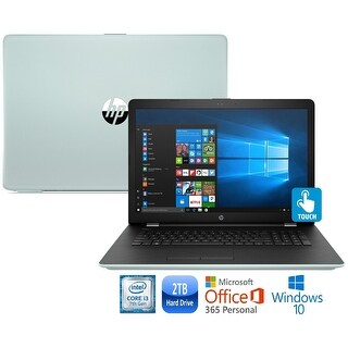 "HP 15-bs012cy Core i3-7100 2TB HDD 15.6"" HD Touch Screen Laptop with Office 365 - pale mint"