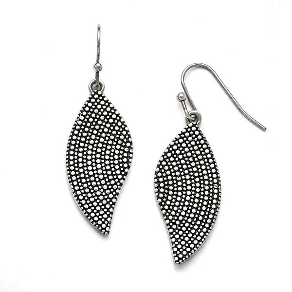 Chisel Stainless Steel Polished/Antiqued Wing Earrings