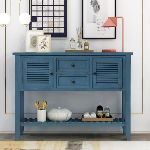 Navy Console Table with 2 Storage Drawers and Bottom Shelf